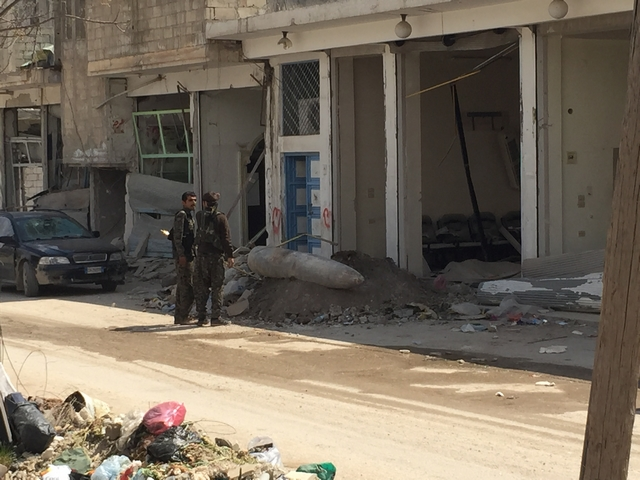 An explosive remnant of war (ERW)found on the street in Kobani, Syria.