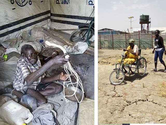 Ugok weaving a dish hanger to sell, and Mary using her hand tricycle, Malakal, South Sudan