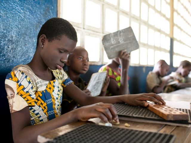 Bénédicte Leguezim is visually impared. She is 12 years old and studies in 5th grade in Loma Kolide, Togo.