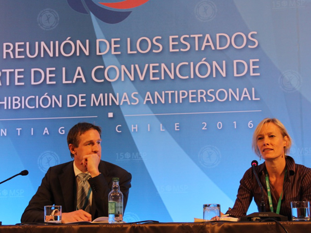 Handicap International Victim Assistance expert Elke Hottentot during the Ottawa Treaty Conference in Santiago, Chile, December 2016.