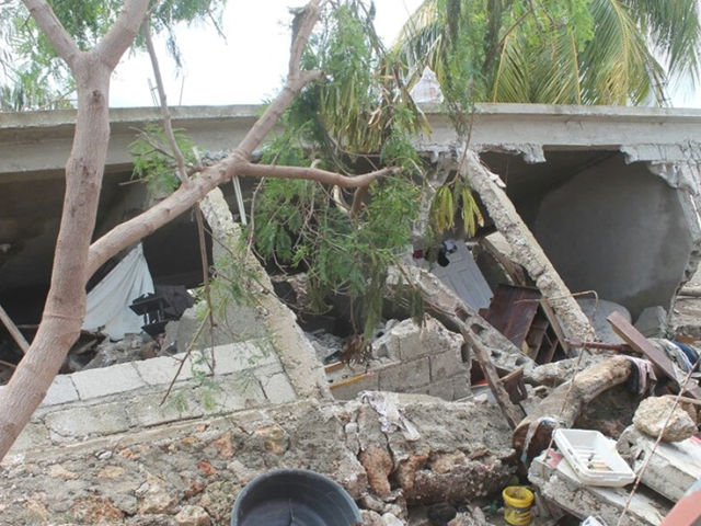 Destroyed home in southern Haiti