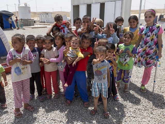 Iraqis in a camp for internally displaced people