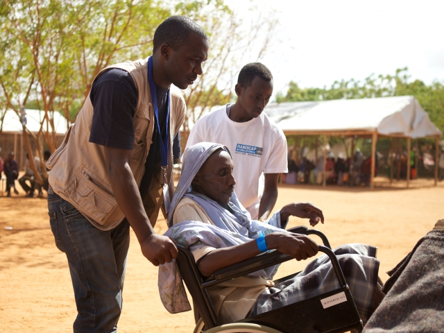 A person with disabilities being cared for in a camp in Dadaab.