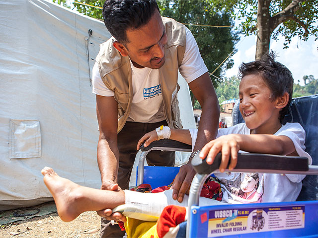 Chusang Tamang, 10, was injured in the earthquake by debris falling as he played outside his house. It is expected that Chusang will be able to walk in two months.Nepal.