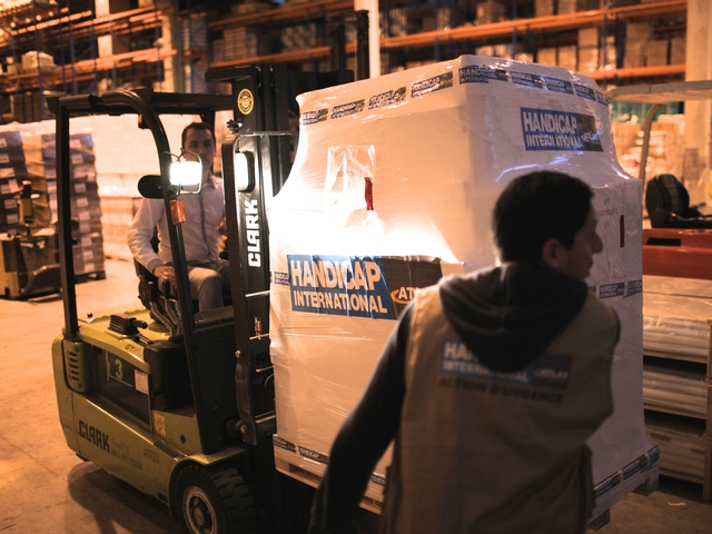 Norredine Zenati supervising the loading of emergency stock to be sent to Nepal to support our emergency response.