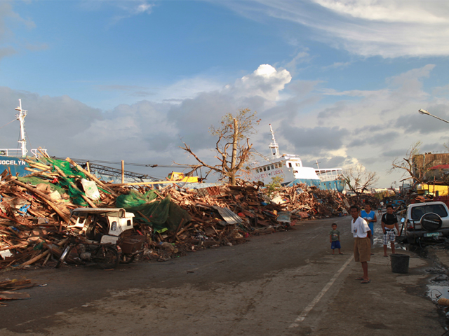 Destruction caused by typhoon Haiyan in November 2013.