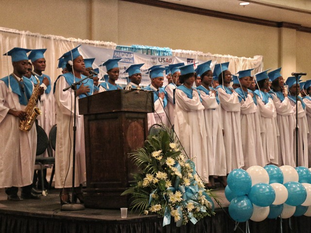 Newly qualifies rehabilitation professionals at their graduation ceremony, Haiti.