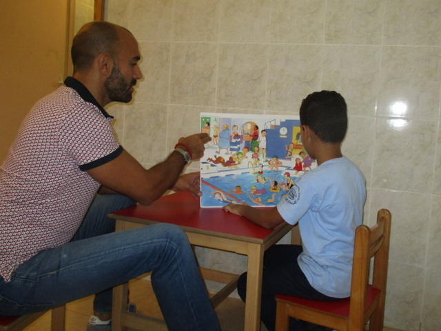 Speech therapy session in one of the three children centre supported by Handicap International in Lebanon.