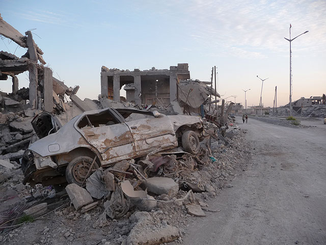 Destruction caused by bombing in the city of Kobani, Syria.