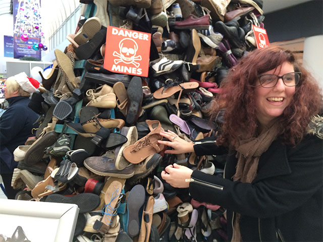 A Pyramid of Shoes at a shopping centre in Chelmsford organised as part of the 2014 Forgotten 10 Challenge.