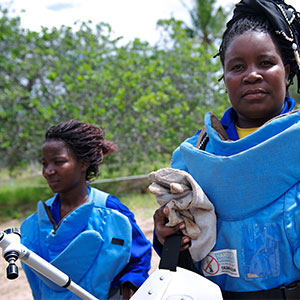 Demining in Mozambique was lead by brave local deminers like Mariano and Olga.
