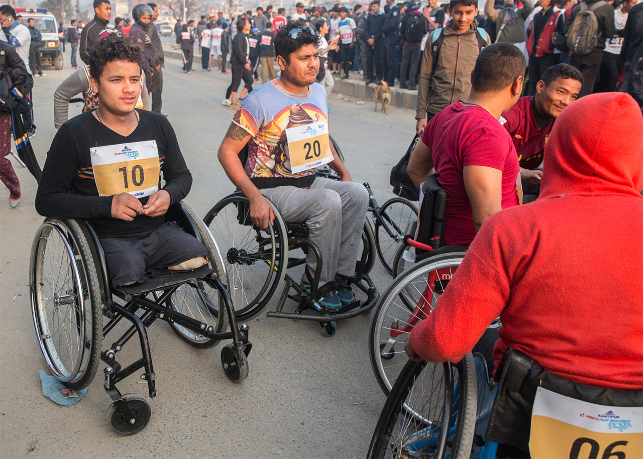 Ramesh lines up at the start of the 3km wheelchair race
