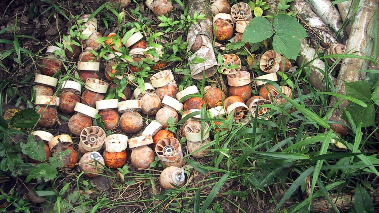 BLU 24 submunitions from a cluster bomb. Laos.