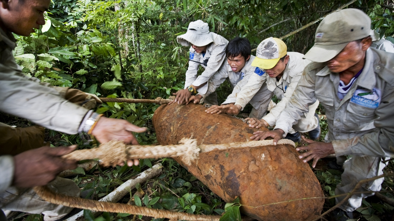 Laos: It took three hours to diffuse this bomb, which was found near a village.