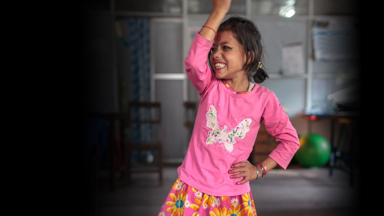 Nirmala, earthquake survivor, dancing at the National Disabled Fund.