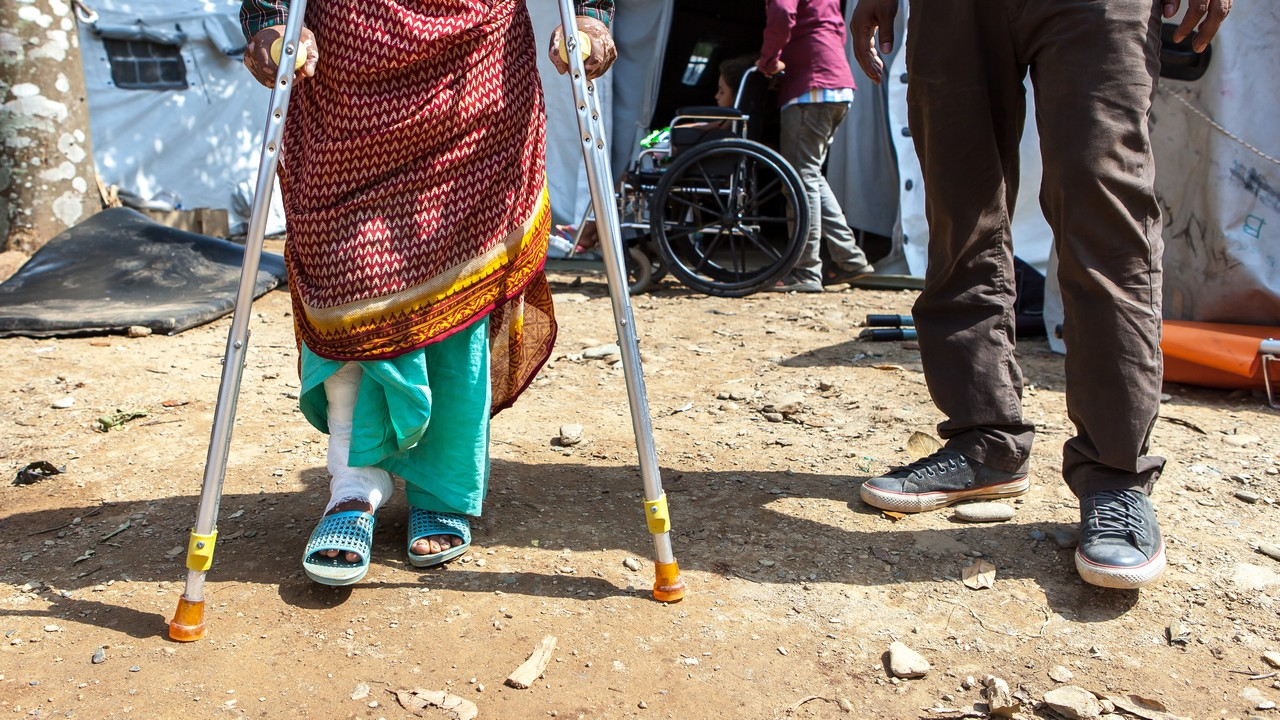 Makhamali Basnet, 60, was injured during the earthquake in Nepal.