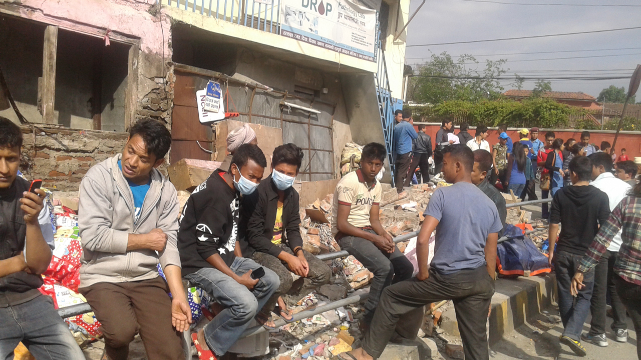 People waiting outside in the immediate aftermath of the earthquake. Nepal.