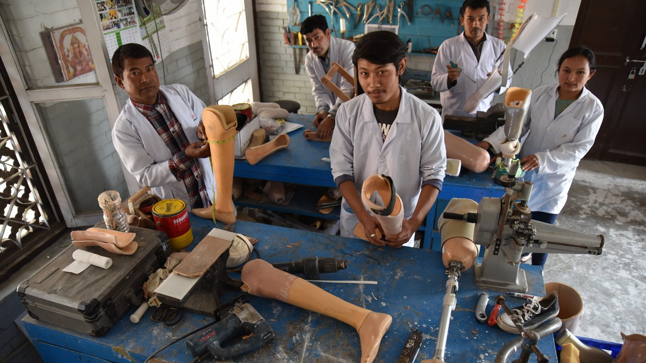 A prosthetics and orthotics workshop at the National Disabled Fund rehabilitation centre in Kathmandu, which is supported by Handicap International. Nepal.