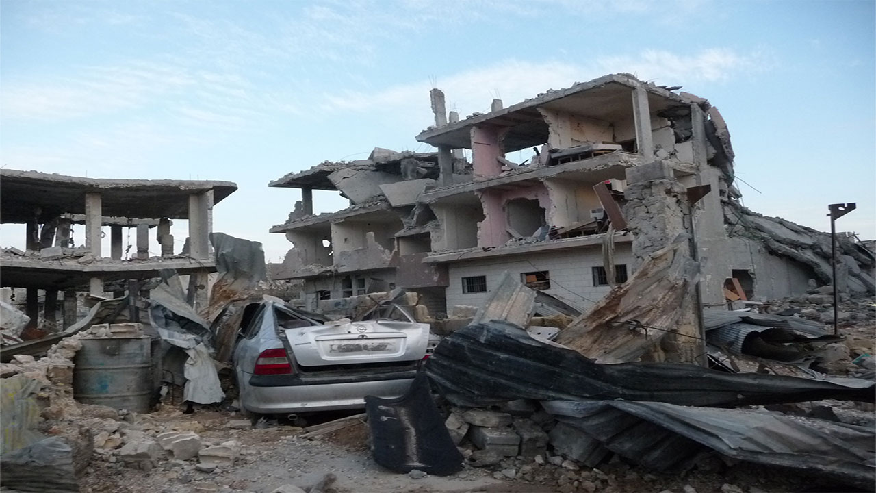 Destruction caused by explosive weapons in the Syrian city of Kobani.