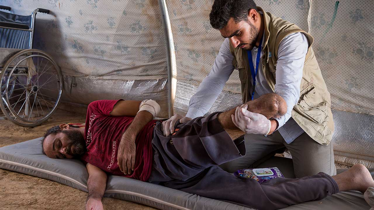 Omar, a diabetic who could not be treated properly because of the conflict was amputated due to gangrene.