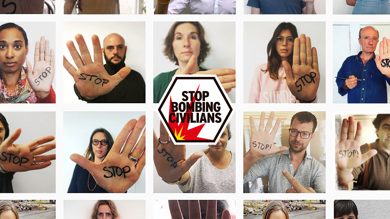 Stop Bombing Civilians logo with gallery of selfie images