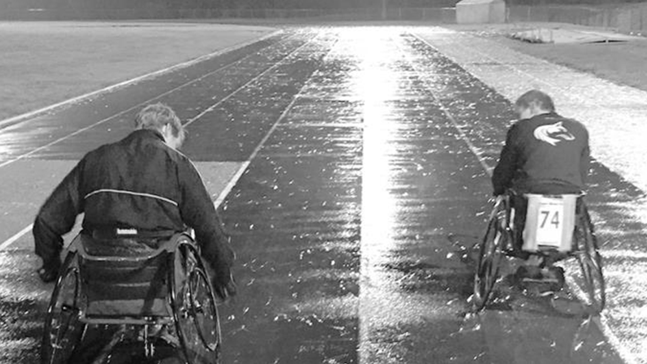 Doug and Patrick training after work on a cold wet evening