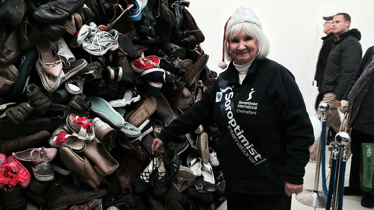 Heather adding a shoe to the Pyramid at the High Chelmer Centre, Chelmsford as part of the 2014 Forgotten 10 Challenge.