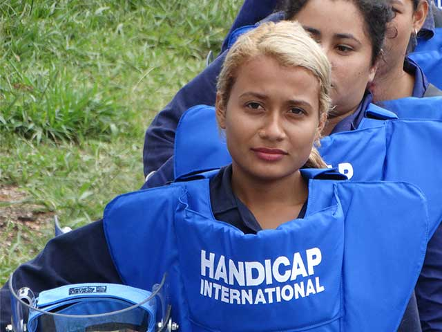 A Handicap International deminer in training, Colombia