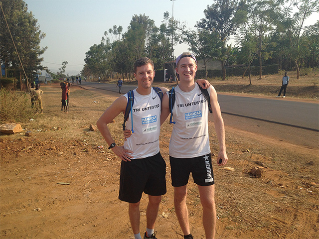 Journey's end: Patrick and Doug by the roadside in Rwanda as they came to the end of their challenge.