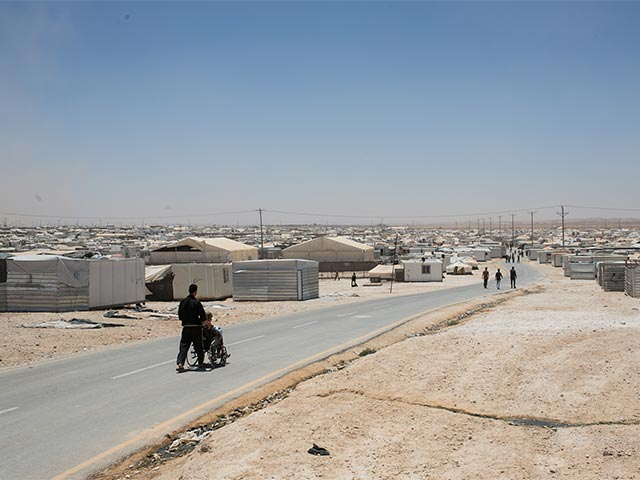 A person with disabilities in Zaatari refugee camp, Jordan