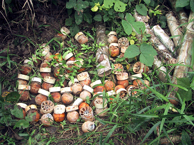 BLU 24 submunitions from a cluster bomb, Laos.