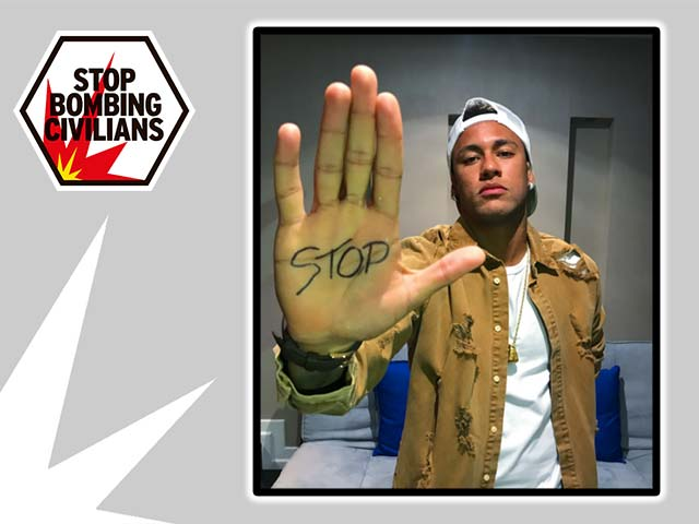 Neymar Jr. Instagram post for Stop Bombing Civilians