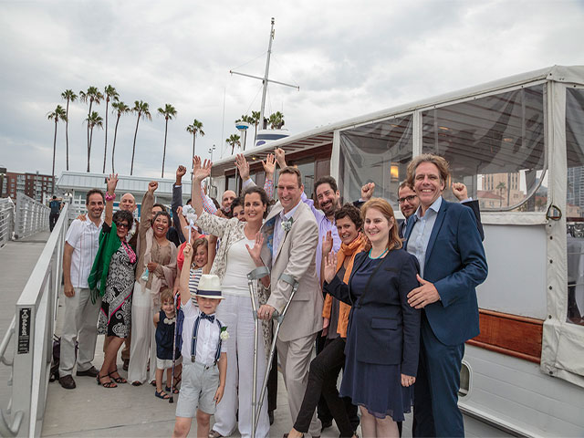 Gary and Sonja with friends and family before boarding Hornblower, San Diego Bay, USA.