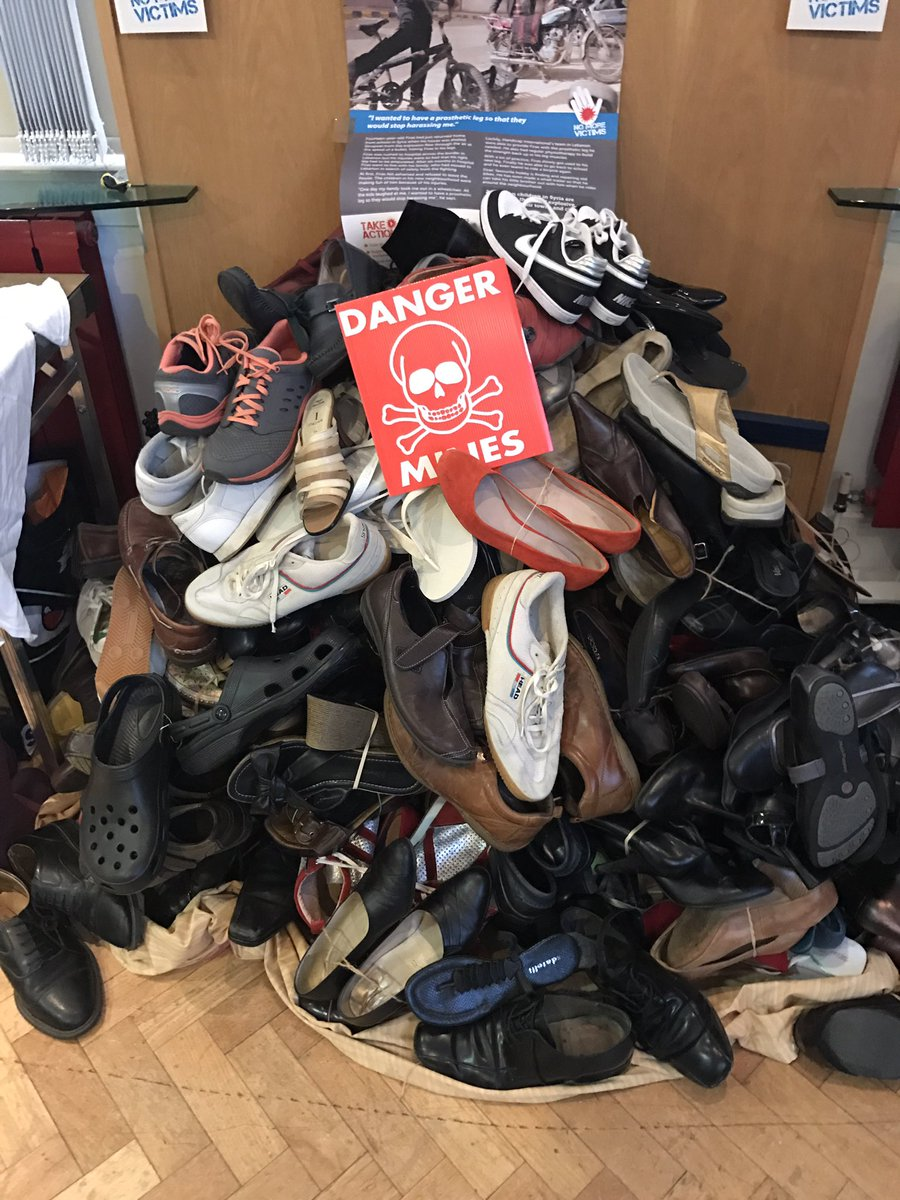 A Pyramid of Shoes built by Solihull Soroptimists in Birmingham. Each shoe on a Pyramid of Shoes represents someone that has lost a life or a limb to an explosive weapon such as a landmine.