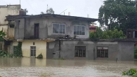 A building under water in the province of Terai, Nepal