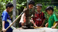 In the Thai camps, drinking water is collected from wells.