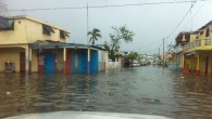 Street in Les Cayes flooded by rain on 20th October 2016.