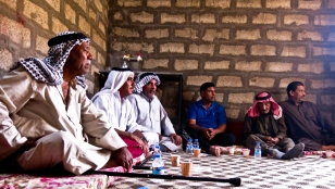 A psychosocial support group session in Bawa, helps a group of men to cope with and share the traumatic events they have lived while fleeing the conflict.