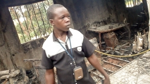 Inside the orthopaedic centre of Tenkodogo, destroyed by a fire in June 2016