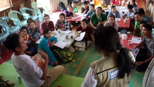 Training parents on child stimulation in Mae La refugee camp, Thailand.