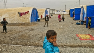 Children playing in Khazer camp, one of the biggest camps hosting displaced persons from Mosul and the region.