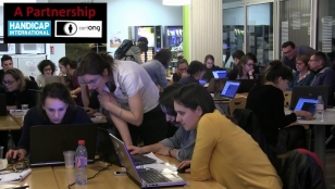 Participants taking part in the Mapathon at Handicap International Federation in Lyon