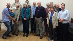 Martin (bottom row second from left) with members of South Somerset Peace Group and Fred and John from Handicap International (either side).