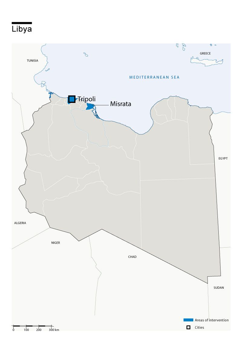 Map of Humanity & Inclusion's interventions in Libya