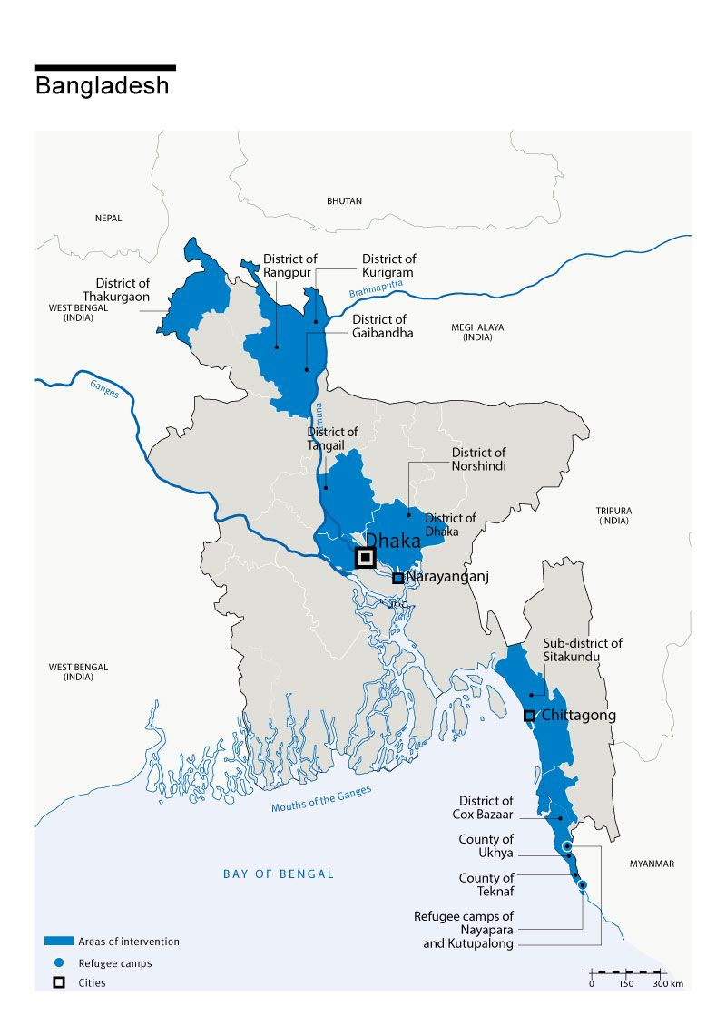 Map of Bangladesh with Humanty & Inclusion's presence in the country