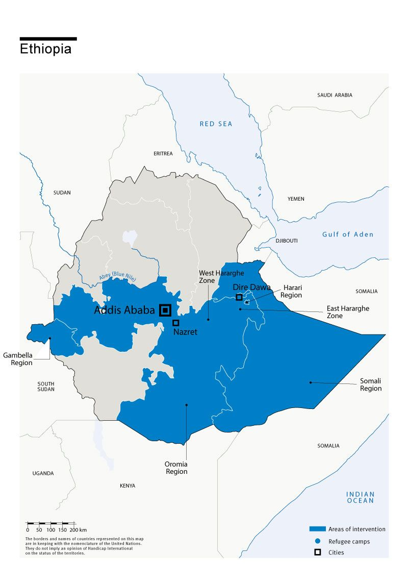 Map of Humanity & Inclusion's interventions in Ethiopia