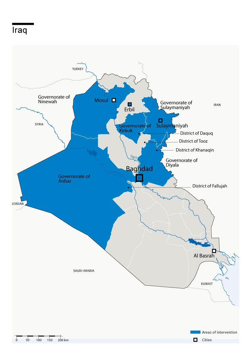 Map of Humanity & Inclusion's interventions in Iraq
