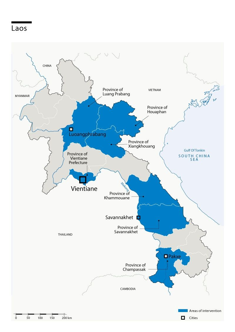 Map of Humanity & Inclusion's interventions in Laos