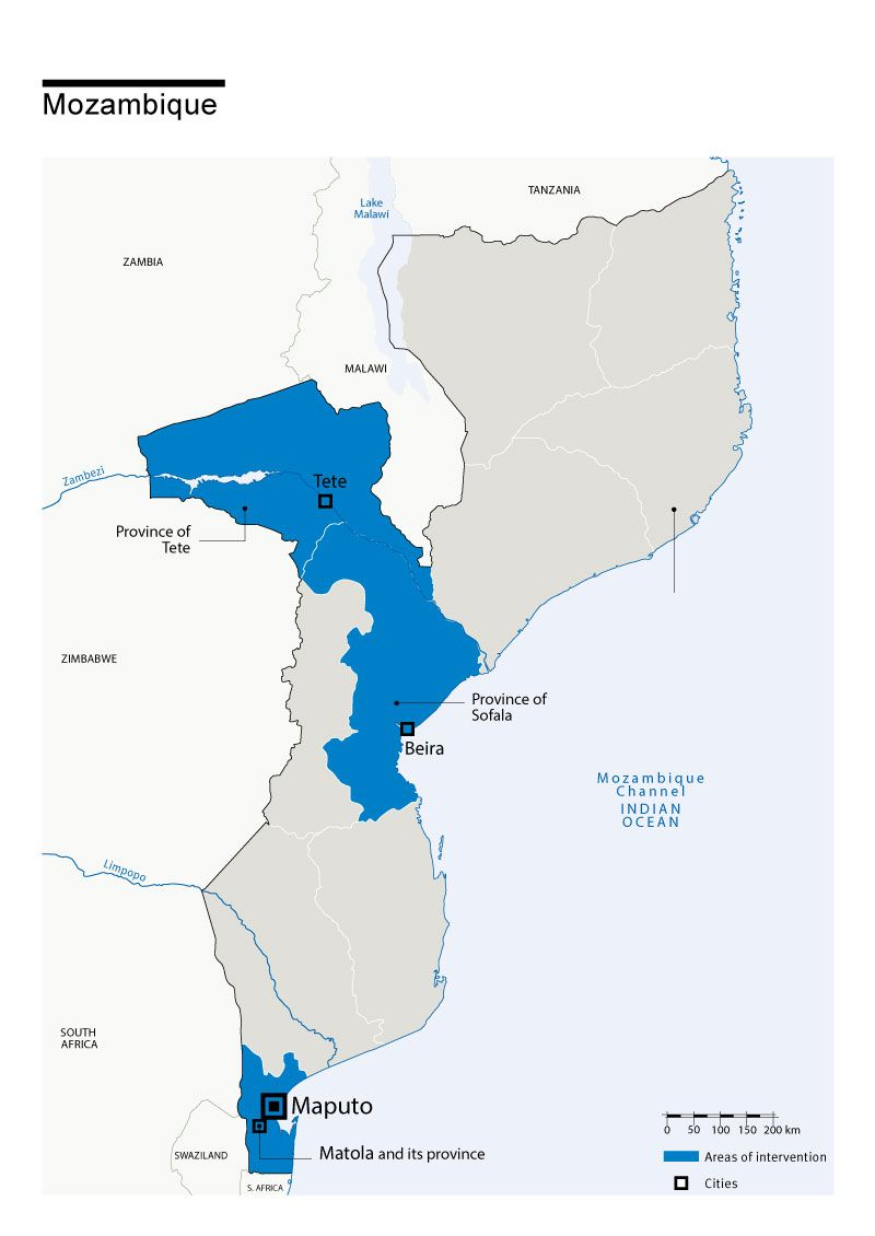 Map of Humanity & Inclusion's interventions in Mozambique