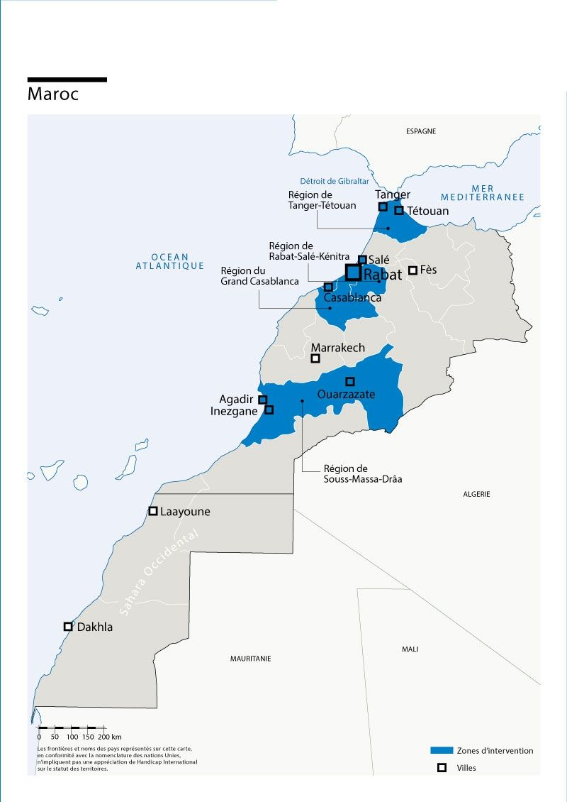 Map of Humanity & Inclusion's interventions in Morocco